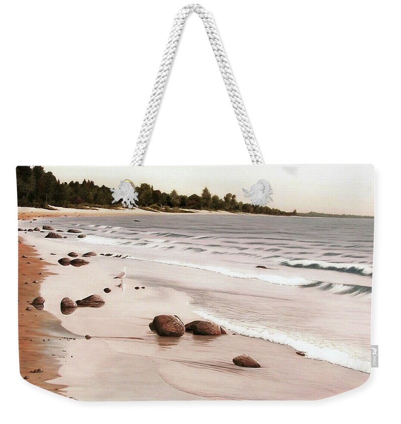 Landscapes Weekender Tote Bag featuring the painting Georgian Bay Beach by Kenneth M Kirsch