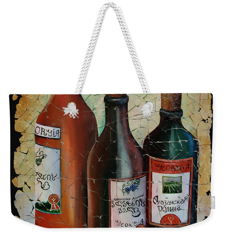 Georgian Wine Weekender Tote Bag featuring the painting Georgian Wine Fresco by OLena Art Lena Owens