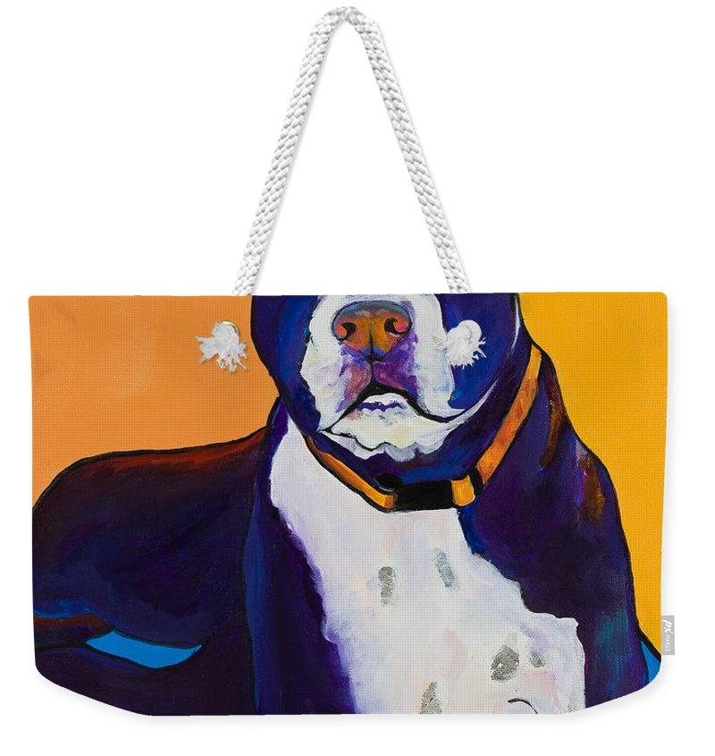Boston Terrier Weekender Tote Bag featuring the painting Georgie by Pat Saunders-White