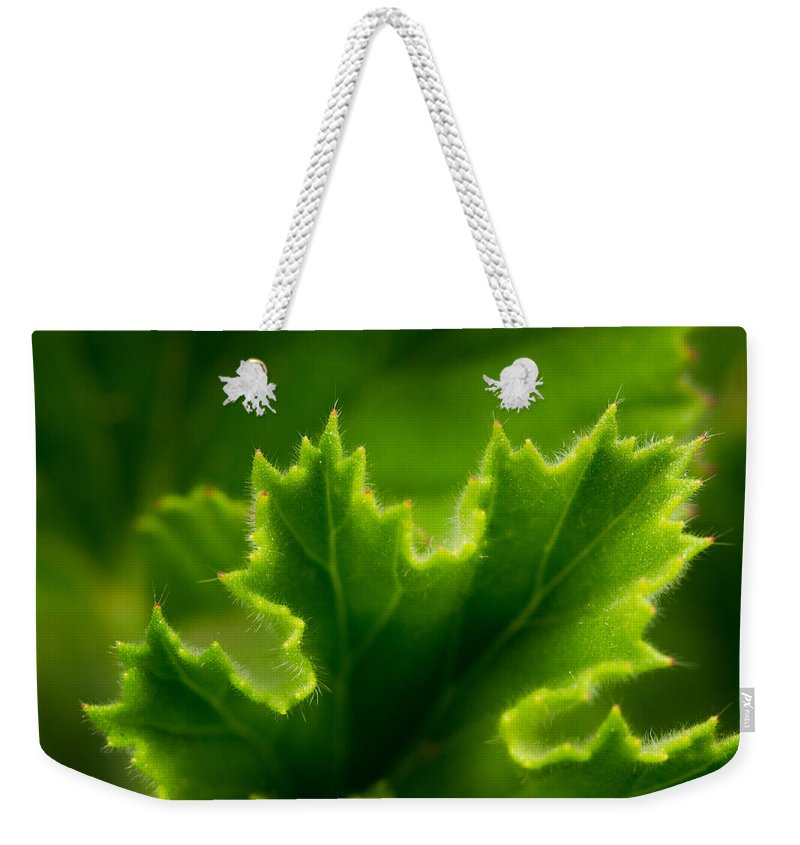 Greenwell Weekender Tote Bag featuring the photograph Geranium Leaf by Sarah Greenwell