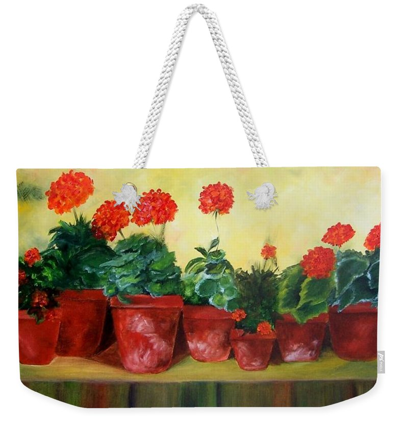 Geraniums Weekender Tote Bag featuring the painting Geraniums In A Row-- Sold by Susan Dehlinger