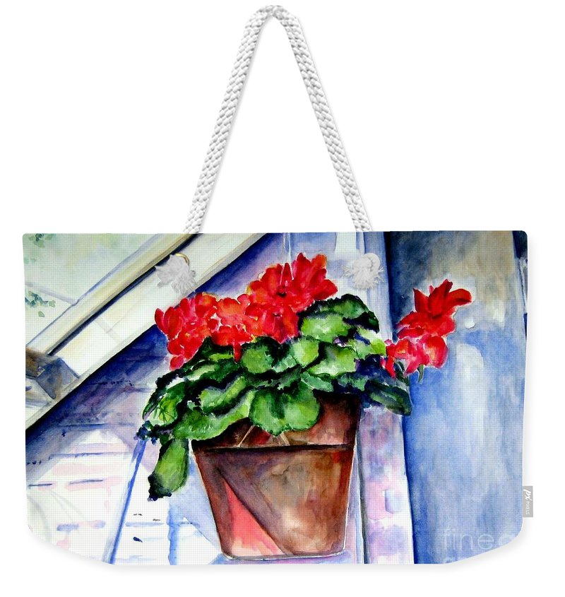 Geranium Weekender Tote Bag featuring the painting Geraniums by Sandy Ryan