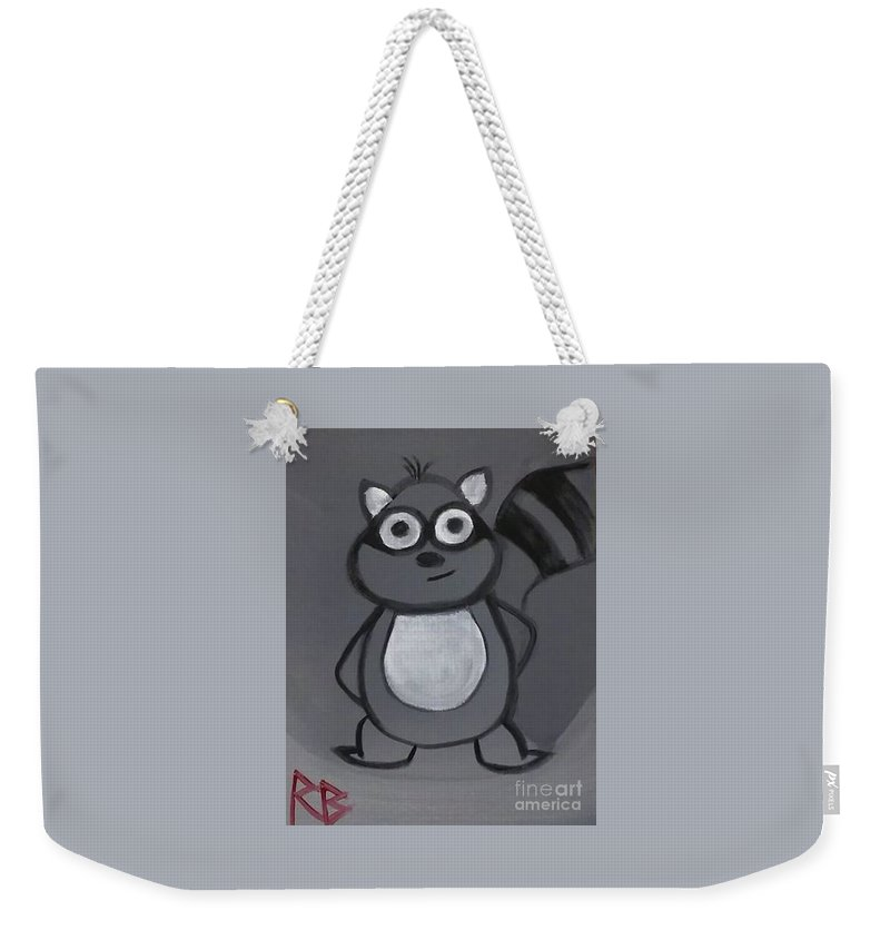 Raccoon Weekender Tote Bag featuring the painting Gerard The Raccoon by Rebecca Benston