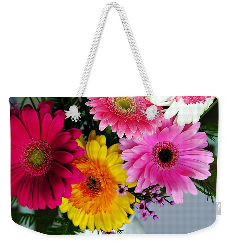 Flower Weekender Tote Bag featuring the photograph Gerbera Daisy Bouquet by Marilyn Hunt