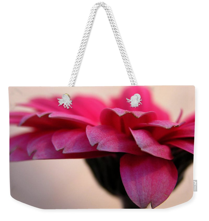 Pink Flower Weekender Tote Bag featuring the photograph Gerbera Daisy by Carol Milisen