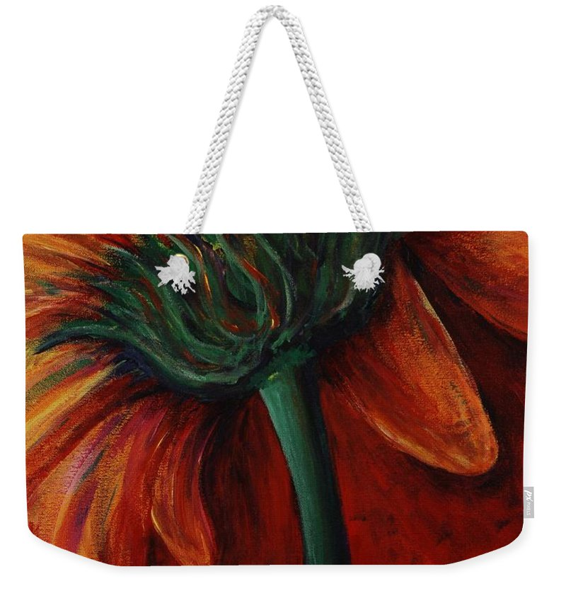 Gerbera Daisy.daisy Weekender Tote Bag featuring the painting Gerbera Daisy by Nadine Rippelmeyer