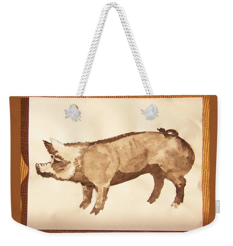 German Pietrain Boar Weekender Tote Bag featuring the photograph German Pietrain Boar 31 by Larry Campbell