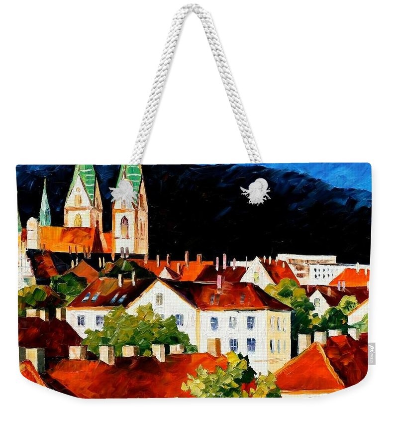 City Weekender Tote Bag featuring the painting Germany - Freiburg by Leonid Afremov