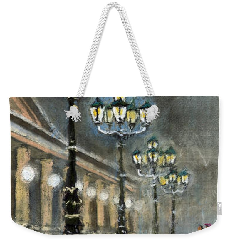 Pastel Weekender Tote Bag featuring the painting Germany Baden-baden Kurhaus by Yuriy Shevchuk