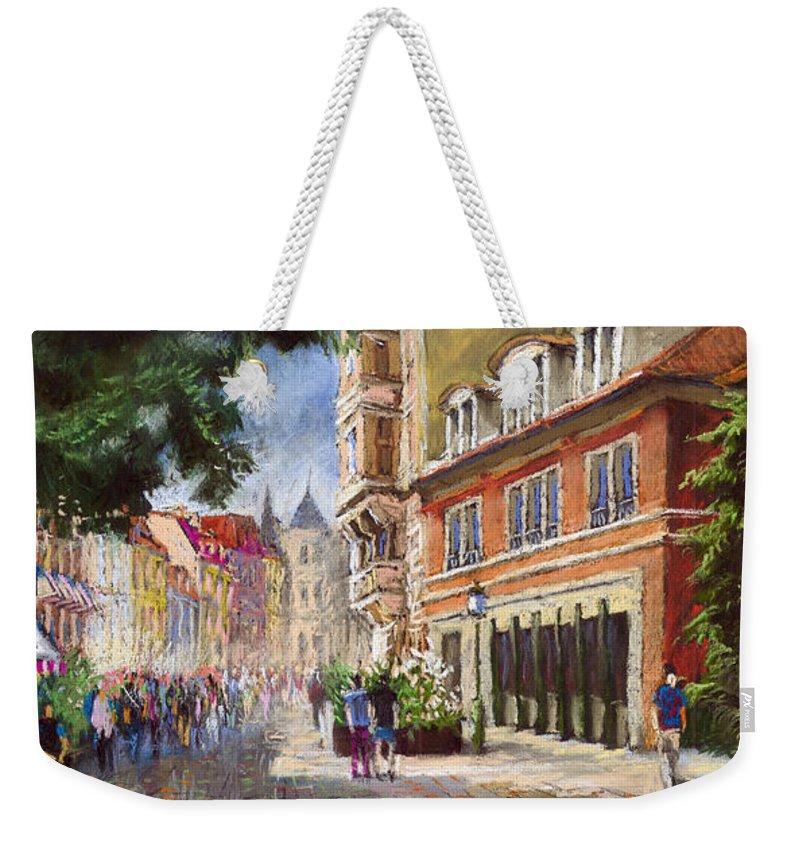 Pastel Weekender Tote Bag featuring the painting Germany Baden-baden Lange Str by Yuriy Shevchuk
