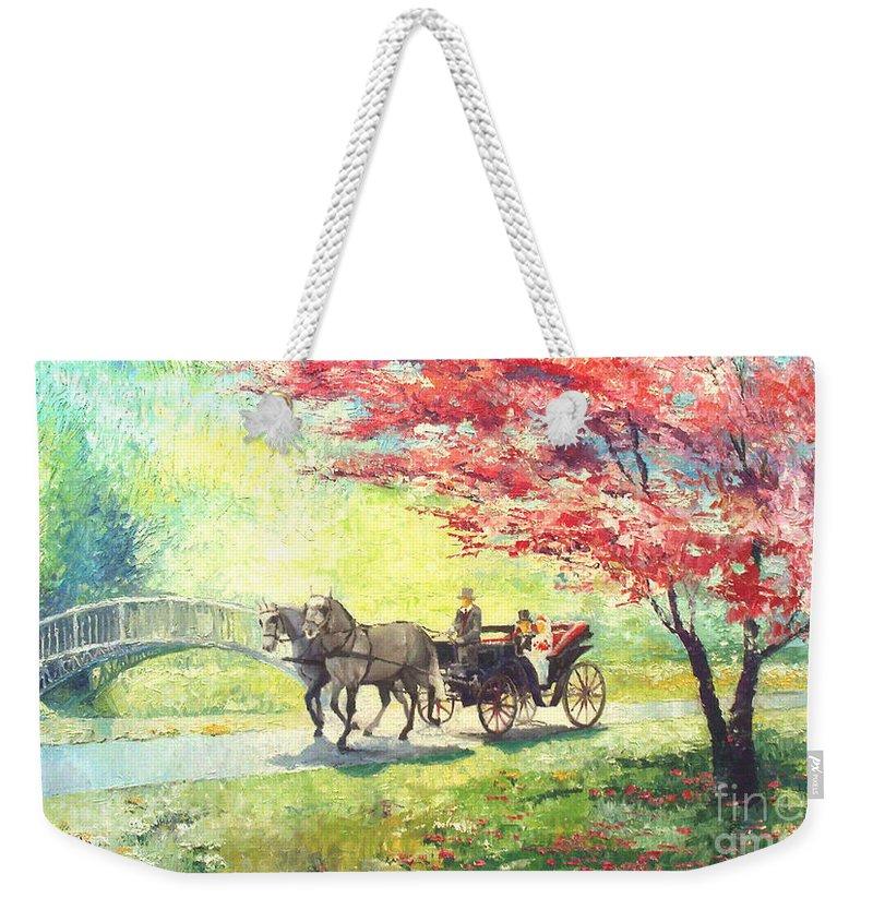 Allee Weekender Tote Bag featuring the painting Germany Baden-baden Lichtentaler Allee Spring 2 by Yuriy Shevchuk