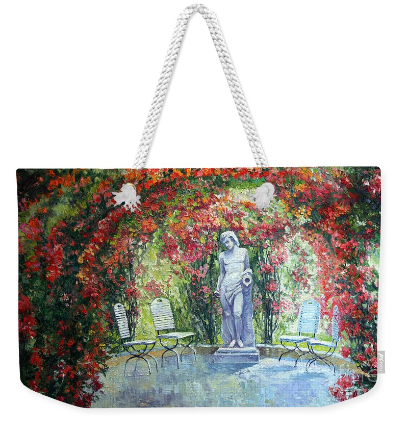 Oil Weekender Tote Bag featuring the painting Germany Baden-baden Rosengarten 02 by Yuriy Shevchuk