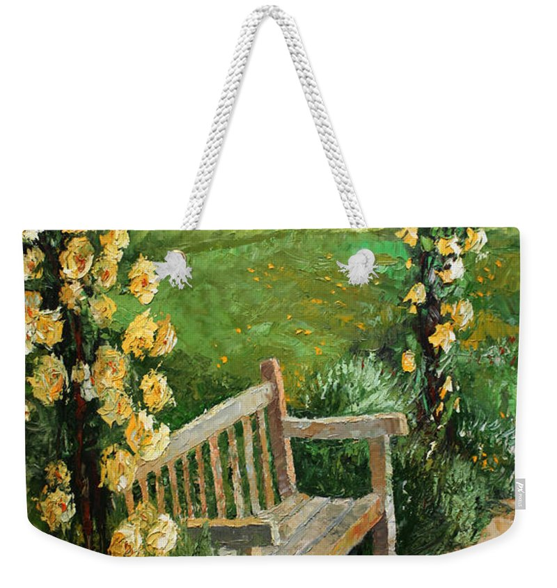 Oil Weekender Tote Bag featuring the painting Germany Baden-baden Rosengarten by Yuriy Shevchuk