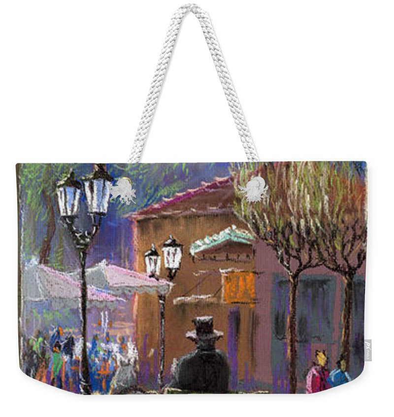 Pastel Weekender Tote Bag featuring the painting Germany Baden-baden Spring Ray by Yuriy Shevchuk