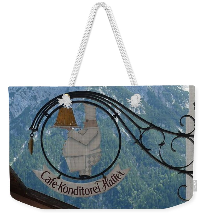 Bavarian Alps Weekender Tote Bag featuring the photograph Germany - Cafe Sign by Carol Groenen