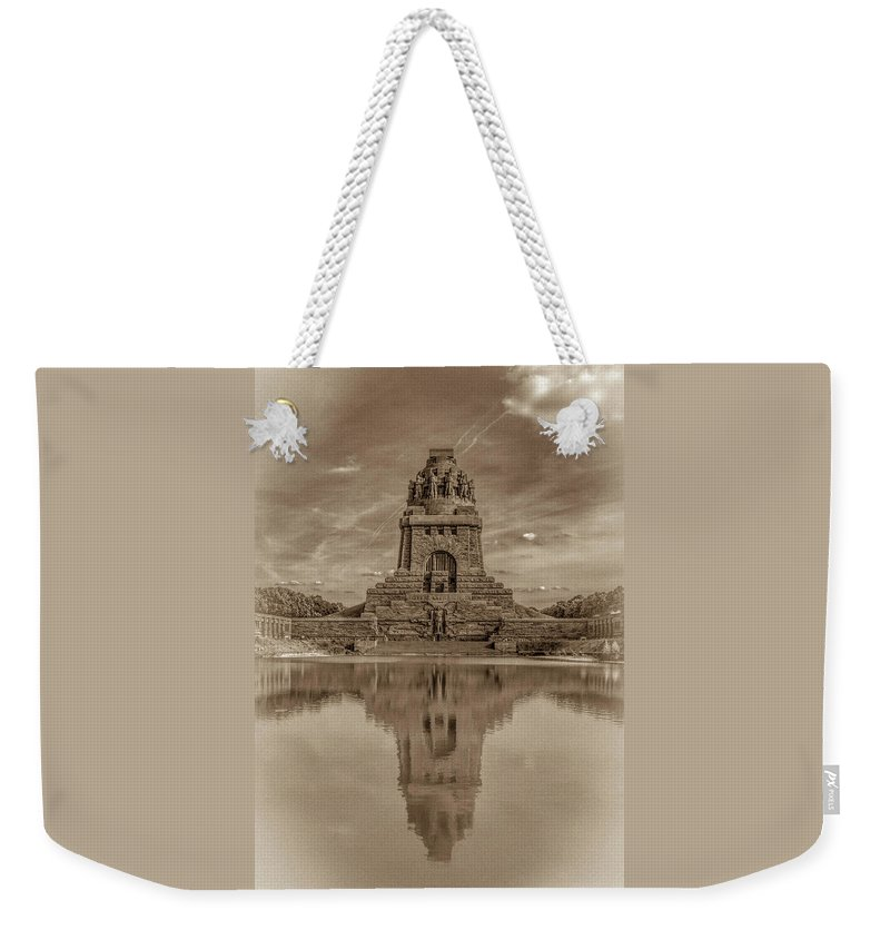 Leipzig Weekender Tote Bag featuring the photograph Germany - Monument To The Battle Of The Nations In Leipzig, Saxony, In Sepia by Ina Kratzsch