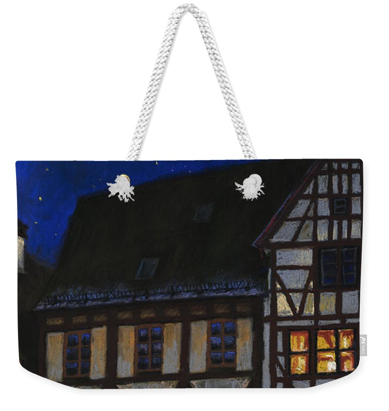 Pastel Weekender Tote Bag featuring the painting Germany Ulm Fischer Viertel Moonroofs by Yuriy Shevchuk