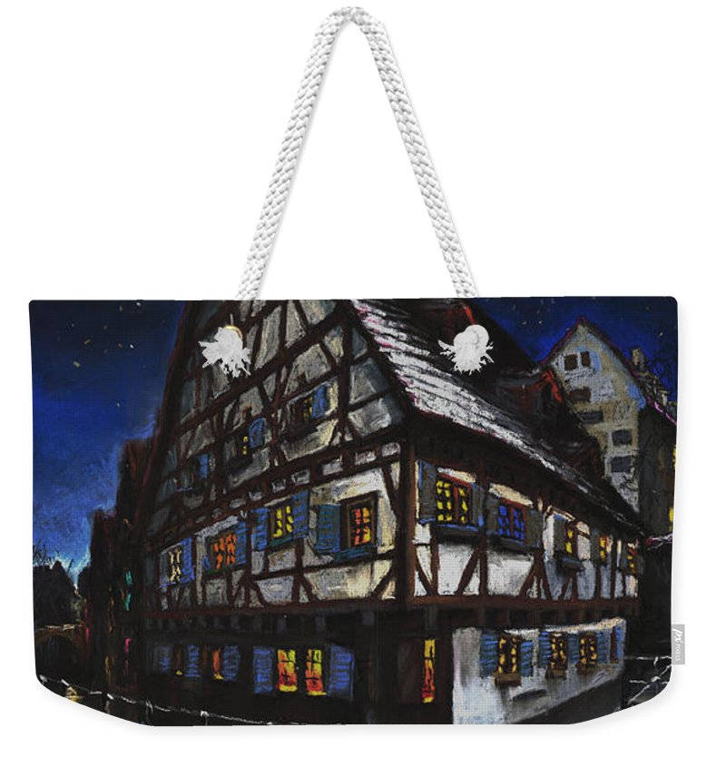 Pastel Weekender Tote Bag featuring the painting Germany Ulm Fischer Viertel Schwor-haus by Yuriy Shevchuk