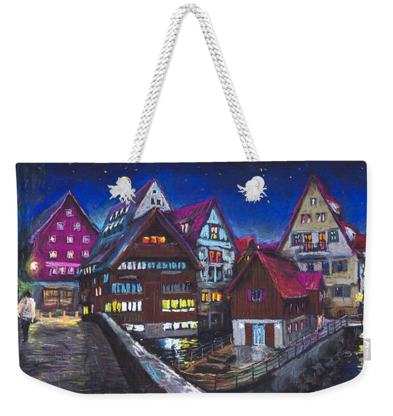 Pastel Weekender Tote Bag featuring the painting Germany Ulm Fischer Viertel by Yuriy Shevchuk