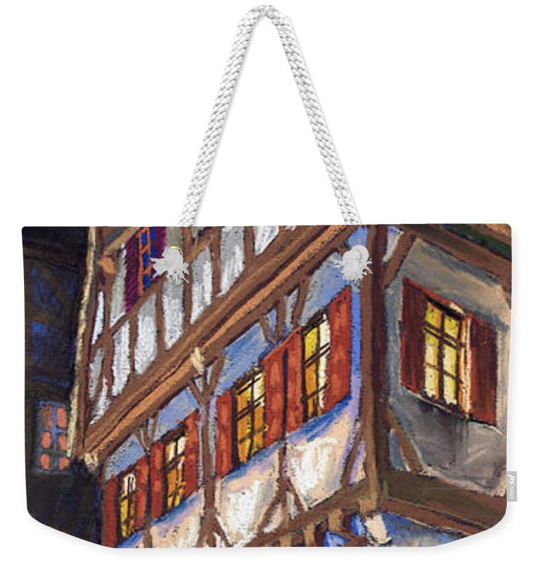 Pastel Weekender Tote Bag featuring the painting Germany Ulm Old Street by Yuriy Shevchuk