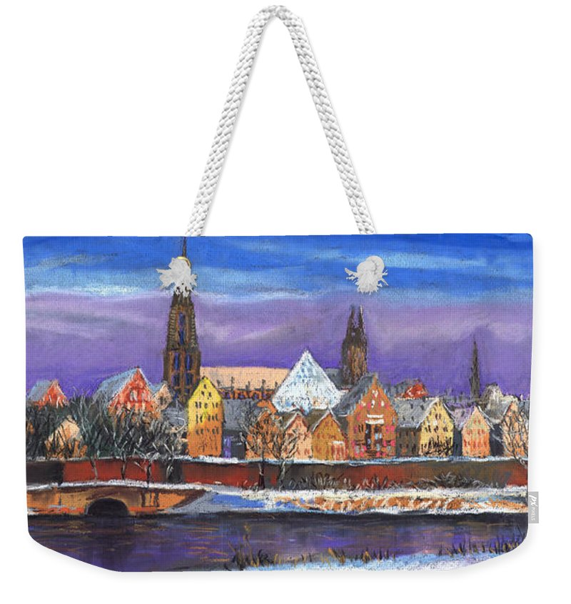 Pastel Weekender Tote Bag featuring the painting Germany Ulm Panorama Winter by Yuriy Shevchuk