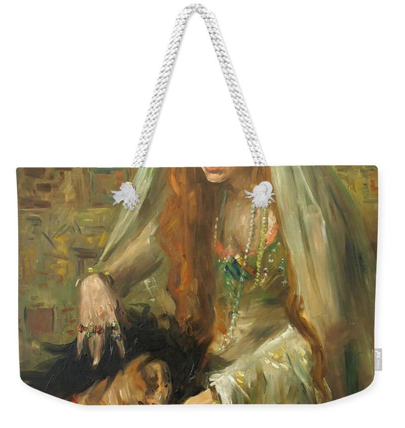 Weekender Tote Bag featuring the painting Gertrud Eysoldt As Salome by Lovis Corinth