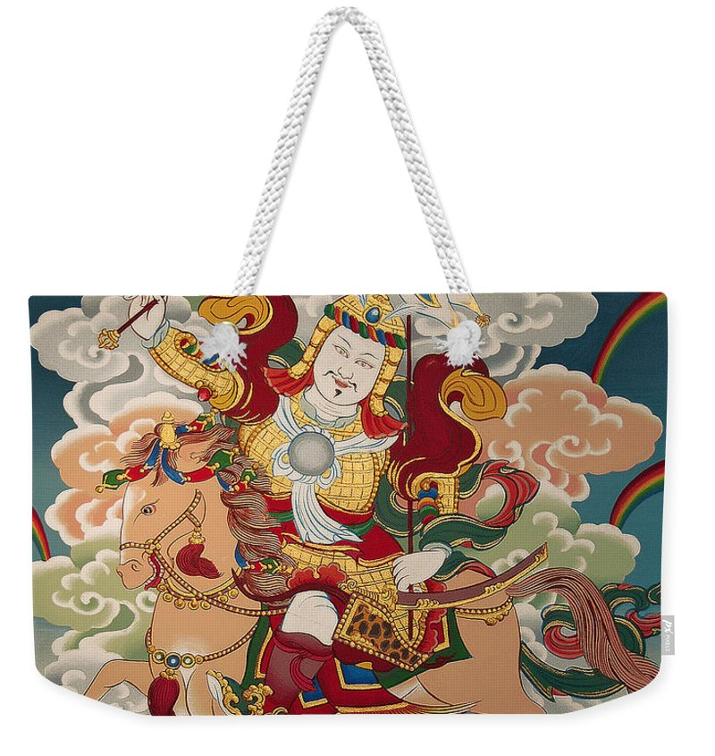Thangka Weekender Tote Bag featuring the painting Gesar Gyalpo by Sergey Noskov