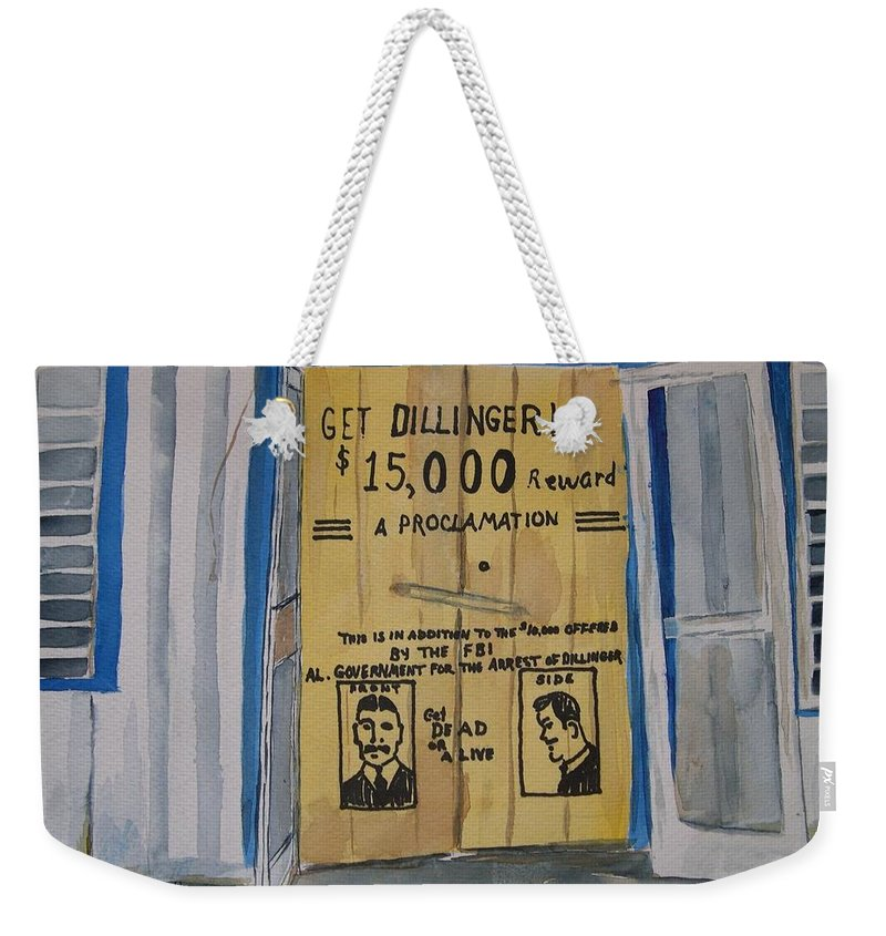 Building Weekender Tote Bag featuring the painting Get Dillinger by Patricia Caldwell