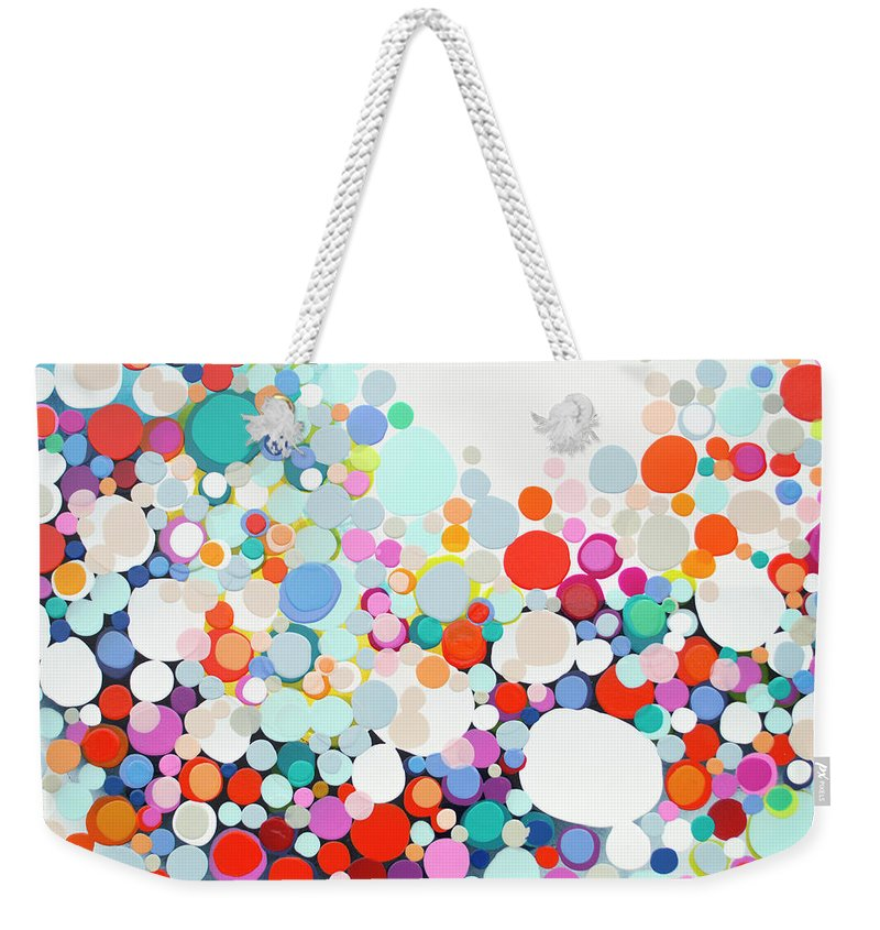 Abstract Weekender Tote Bag featuring the painting Get Home Late by Claire Desjardins