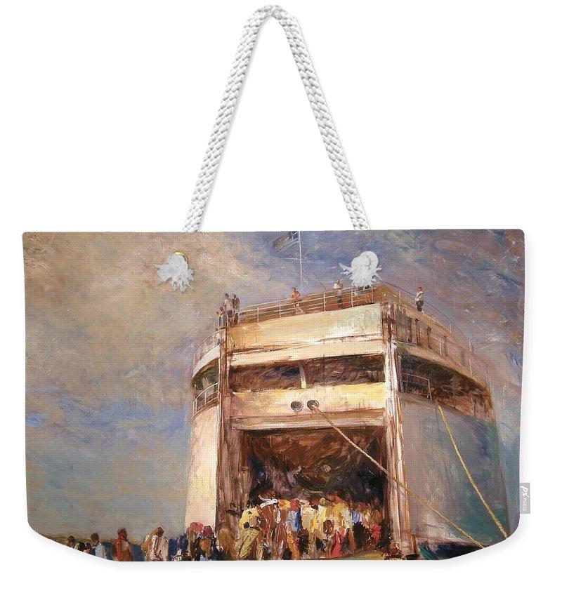 Summer Weekender Tote Bag featuring the painting Get On by Martin Krastev