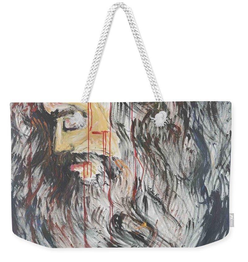Jesus Weekender Tote Bag featuring the painting Gethsemane To Golgotha IIi by Nadine Rippelmeyer