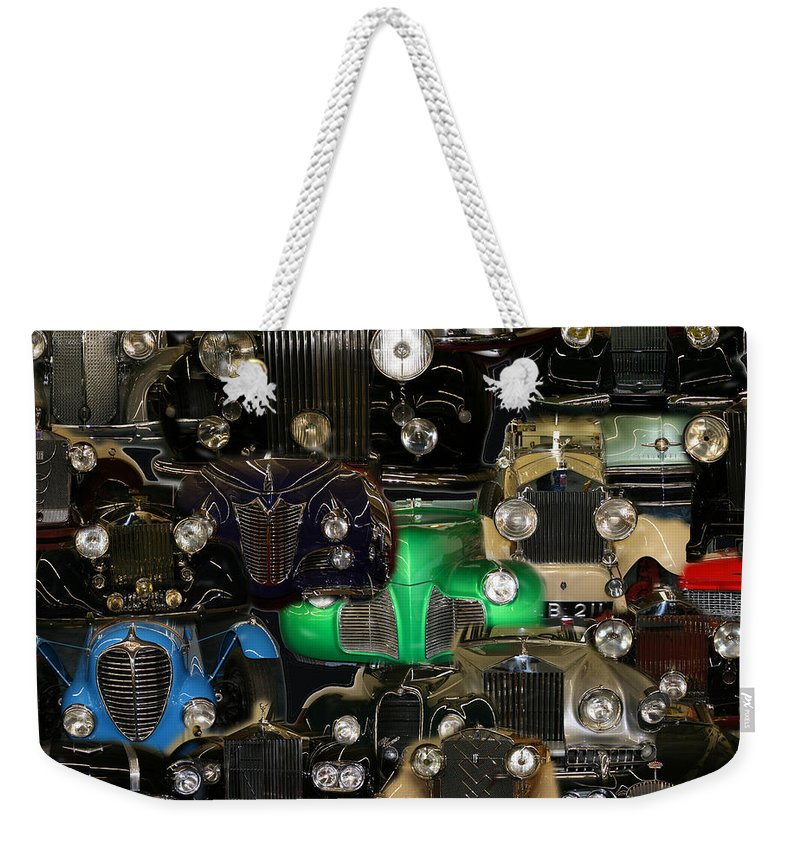 Car Grill Hood Vehicles Classic Automobile Weekender Tote Bag featuring the photograph Gettin Grilled by Andrea Lawrence