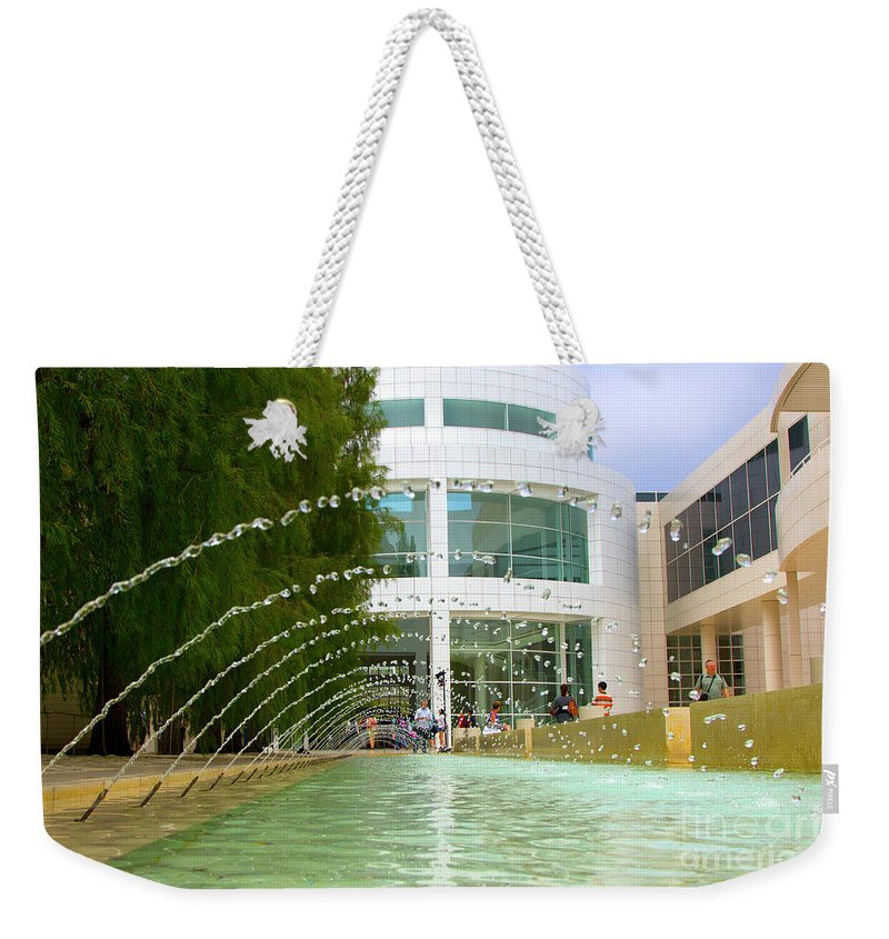 Los Angeles Weekender Tote Bag featuring the photograph Getty Museum Architecture II by Chuck Kuhn