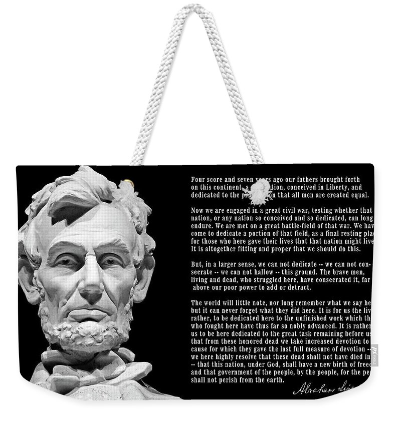 Lincoln Weekender Tote Bag featuring the photograph Gettysburg Address 1863 by Daniel Hagerman