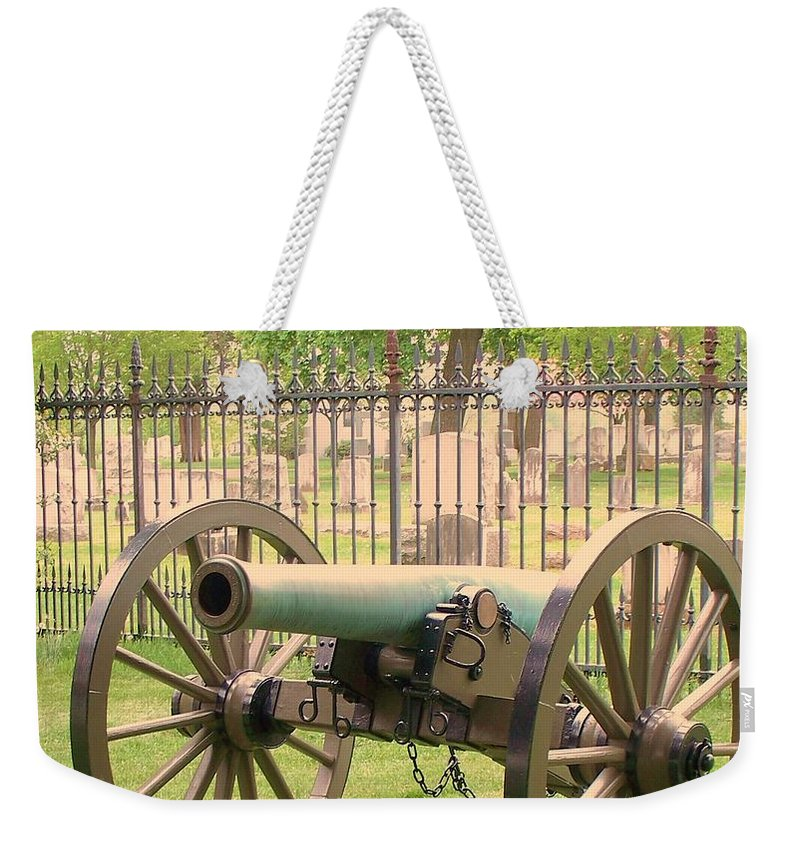 Gettysburgs Weekender Tote Bag featuring the painting Gettysburg Cannon Cemetery Hill by Eric Schiabor