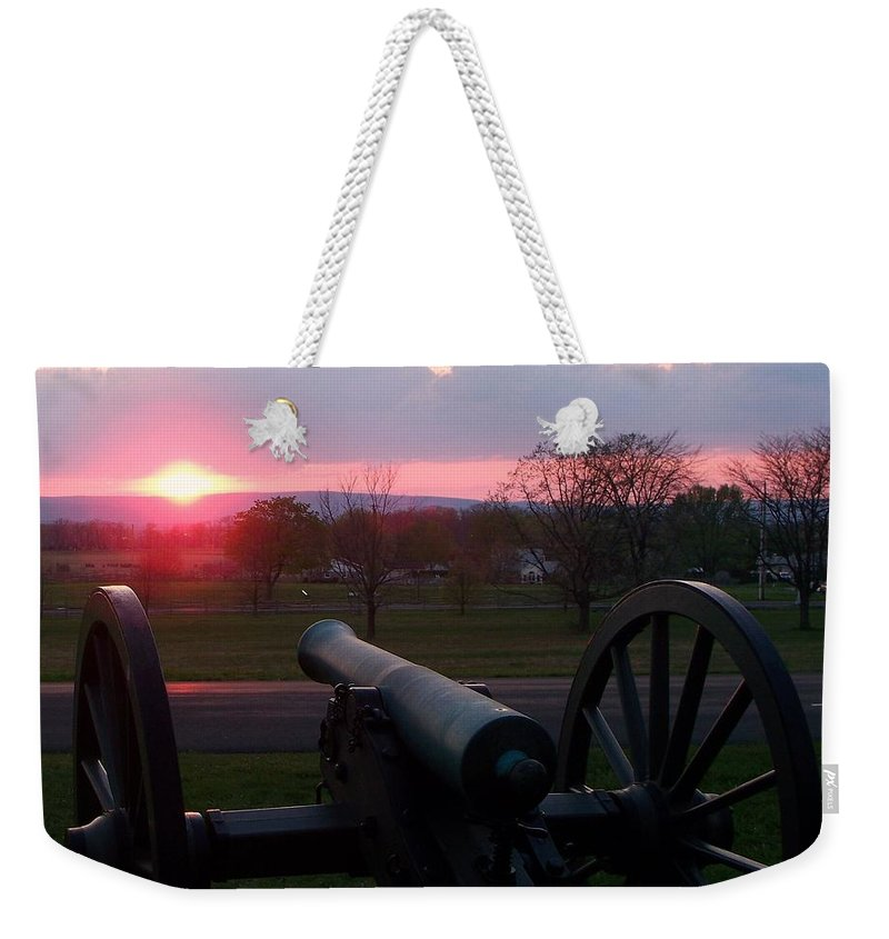 Gettysburg Cannon Weekender Tote Bag featuring the painting Gettysburg Cannon by Eric Schiabor