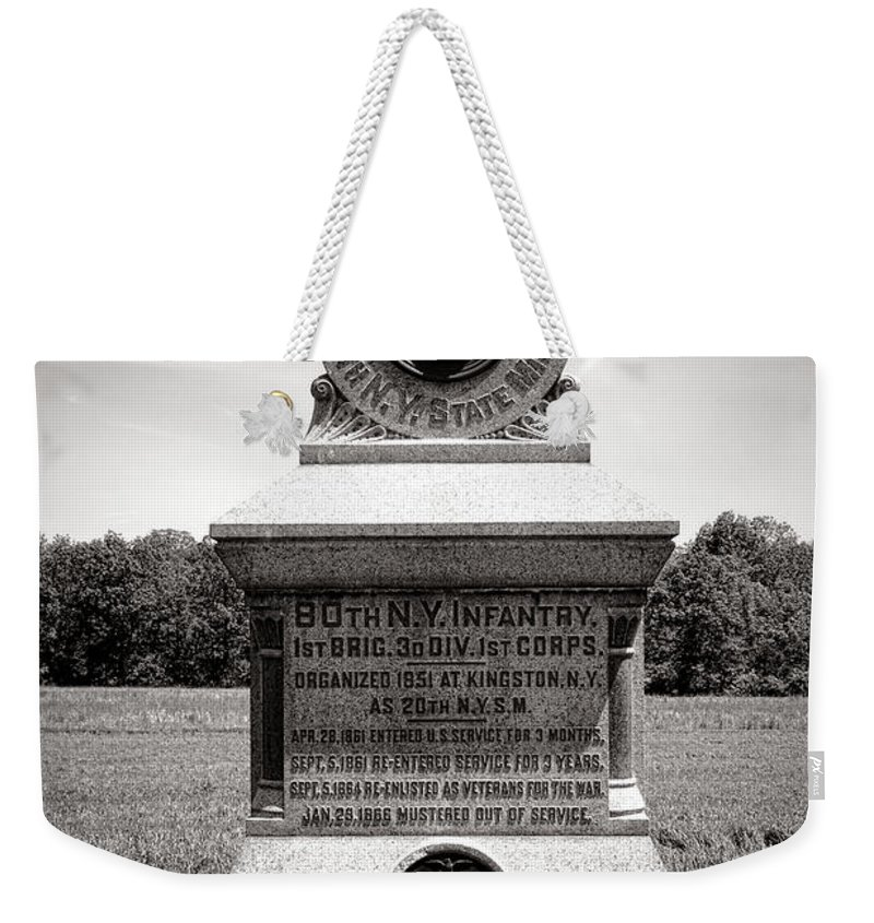 Gettysburg Weekender Tote Bag featuring the photograph Gettysburg National Park 80th New York Infantry Militia Monument by Olivier Le Queinec