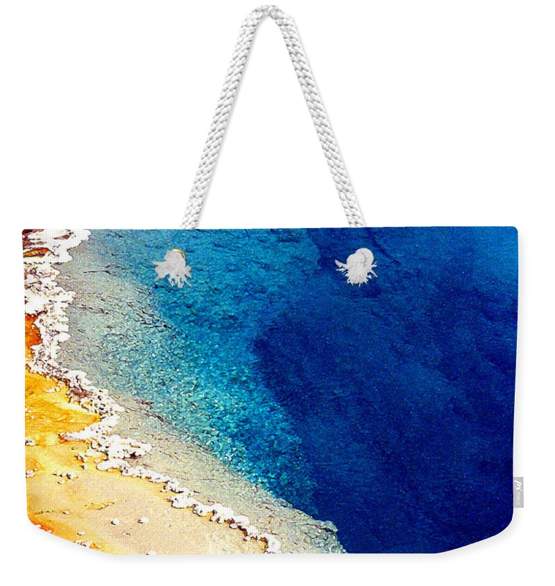 Geyser Weekender Tote Bag featuring the photograph Geyser Basin by Nancy Mueller