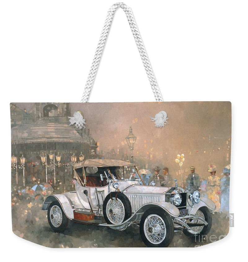 Seaside; Evening; Promenade; Car; Automobile; Rolls Royce; Vintage; Bandstand; Classic Cars; Vintage Cars; Nostalgia; Resort; Old Timer ; Scarborough Weekender Tote Bag featuring the painting Ghost In Scarborough by Peter Miller