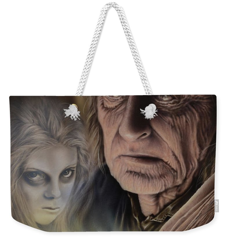 Airbrush Weekender Tote Bag featuring the painting Ghost In The Book by Robert Haasdijk