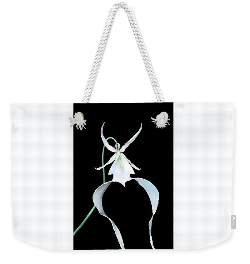 Orchid Weekender Tote Bag featuring the digital art Ghost Orchid by Jessica E Hayes