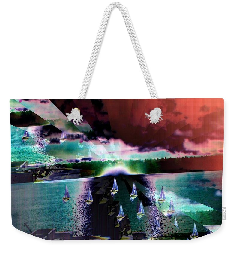 Seattle Weekender Tote Bag featuring the digital art Ghost Regatta by Tim Allen