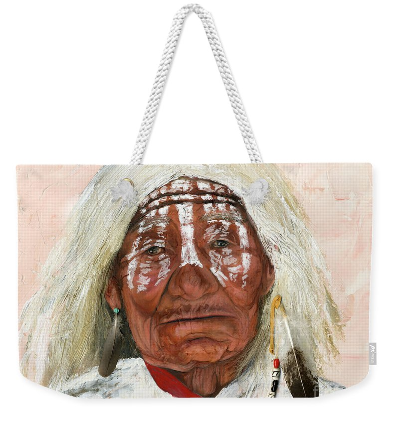 Southwest Art Weekender Tote Bag featuring the painting Ghost Shaman by J W Baker