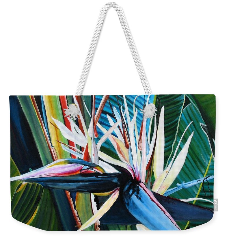 Bird Weekender Tote Bag featuring the painting Giant Bird Of Paradise by Marionette Taboniar