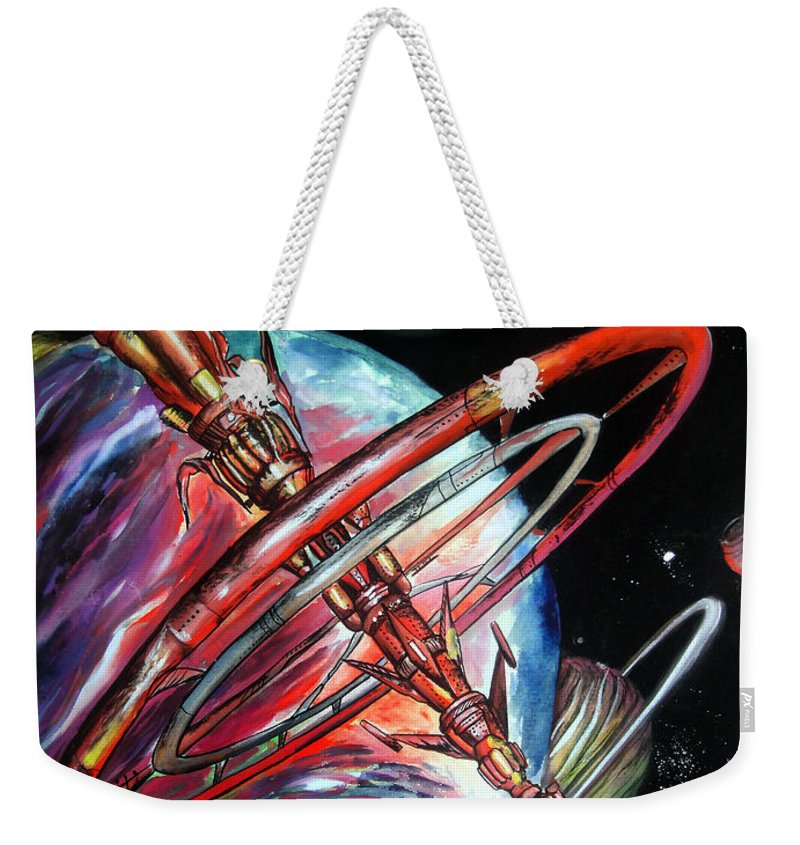 Space Shuttle Weekender Tote Bag featuring the painting Giant, Old Red Space Shuttle Of Alien Civilization by Sofia Metal Queen