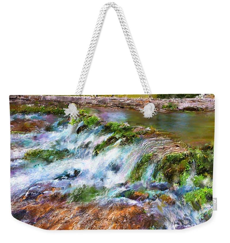 Giant Springs Weekender Tote Bag featuring the digital art Giant Springs 2 by Susan Kinney