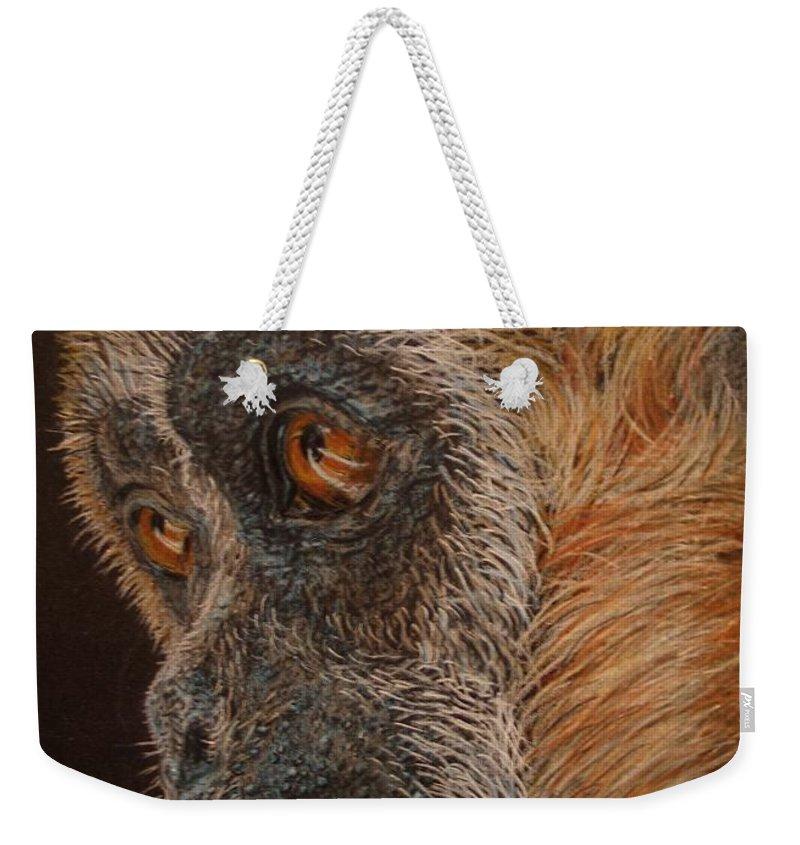 Animals Weekender Tote Bag featuring the drawing Gibbon by Karen Ilari