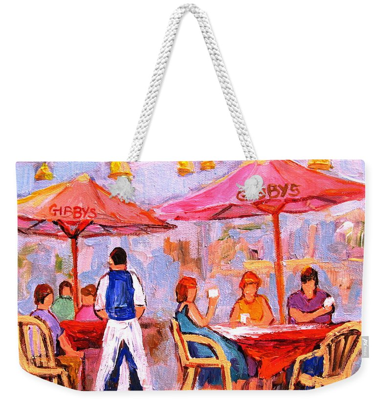 Gibbys Restaurant Montreal Street Scenes Weekender Tote Bag featuring the painting Gibbys Cafe by Carole Spandau