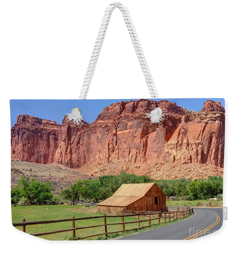 Utah Weekender Tote Bag featuring the photograph Gifford Homestead Barn - Capitol Reef National Park by Gary Whitton