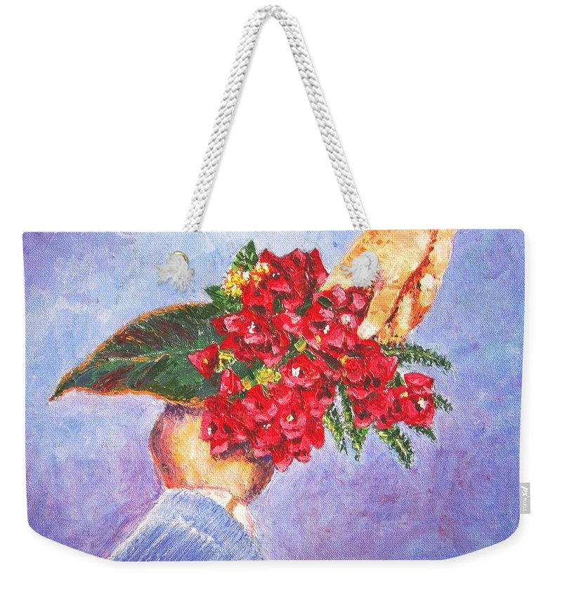Gift Weekender Tote Bag featuring the painting Gift A Bouquet - Bougenvillea by Usha Shantharam